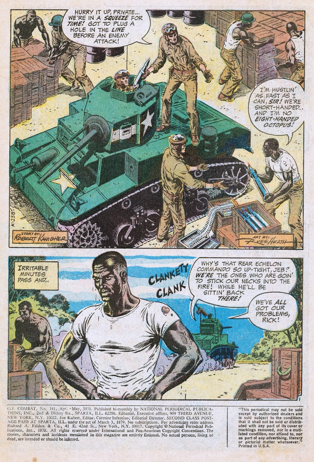 Out of this world social history in comics g i combat 141 let the story begins with the haunted tank crew re stocking with ammunition from a supply depot manned by a segregated african american unit much as would have publicscrutiny Image collections