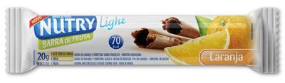 barra de frutas light nutry sabor laranja