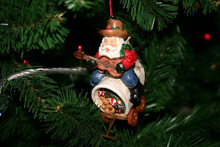 Santa playing a banjo Christmas Decoration