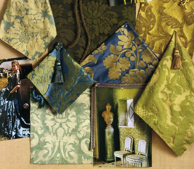 In The September Issue Of Veranda A Display Wonderful Damask Fabrics Are Gathered To Show New Colors And Textures Spectacular Luscious