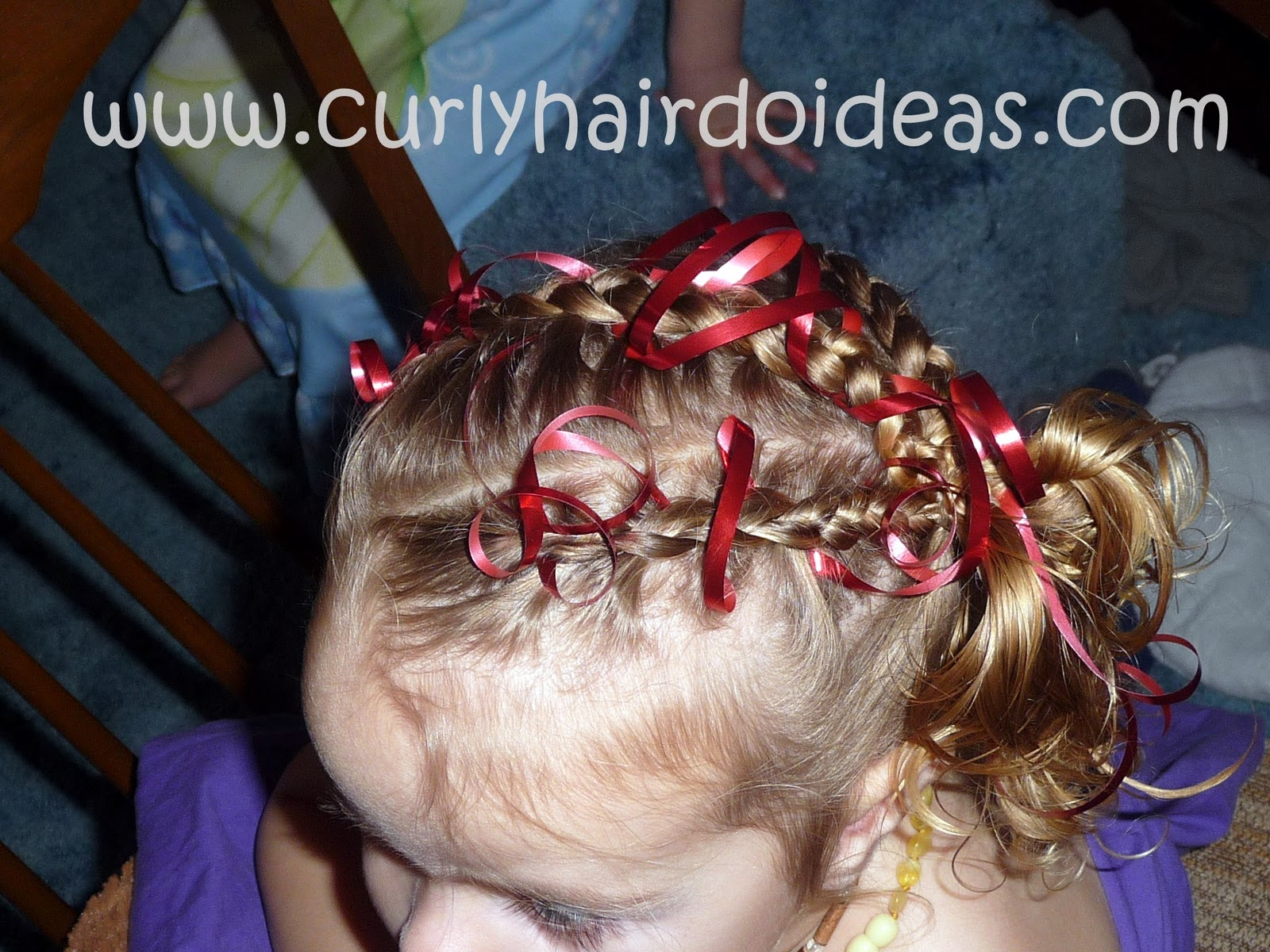 Christmas Braids and Ribbon Hairstyle for Kids. 1600 x 1200.Hairstyles Braids Children