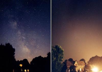 Bintang kelihatan dalam gelap tetapi silau ketika terang