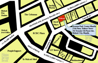 map of nclex examination center Trident Tower (Pearson vue) Manila Philippines