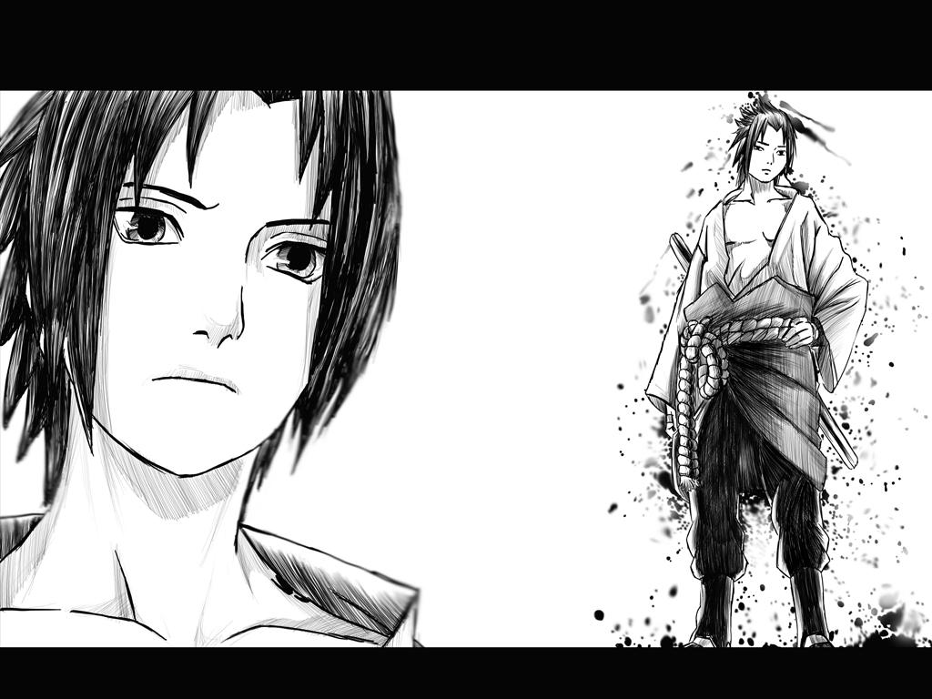 Naruto Shippuden Sasuke Black And White