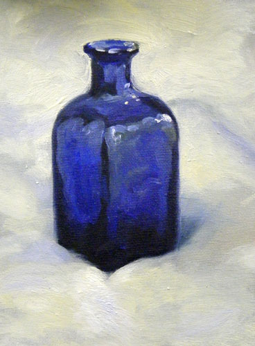 Bottle Blues daily painting. Oils on canvas board