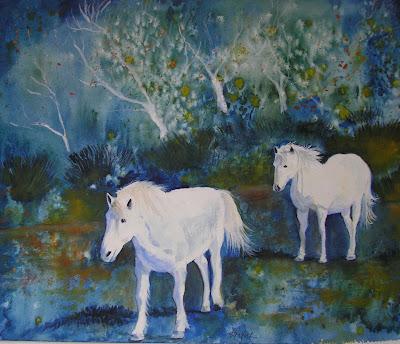 Bunny's Artwork: White Horses Fantasy Watercolor Painting