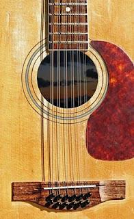 En tolvstrenget akustisk guitar lige over lydhullet