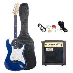 top guitars austin bazaar metallic blue electric guitar package with 10 watt amp beginner kit. Black Bedroom Furniture Sets. Home Design Ideas