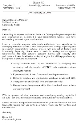 Marvelous Cover Letter For Resume Of A Computer Engineer As A C# Developer/Programmer