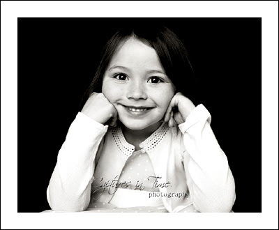 Kansas City Child Photographer girl happy face black and white