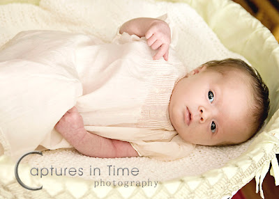 Kansas City Newborn Photos newborn girl with vintage dress in basinette