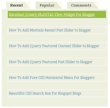 Great 3 Tab View Widget to Blogger