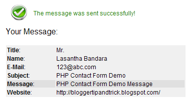 PHP Contact Form Thank you messag