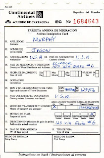 Ecuador Customs and Immigration Forms