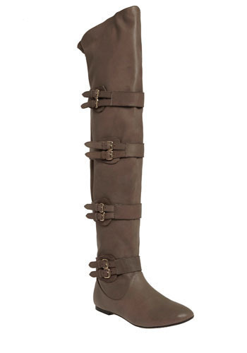 a9626f101acf8f Matiko Over-The-Knee Gray Buckled Boots - Solo Lisa