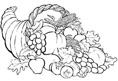 turkey and cornucopia coloring pages | Thanksgiving Coloring Pictures