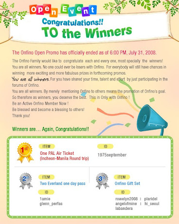 Onfino Open Event Promo Winners