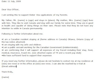 letter of invitation canada sample for parents invitation letter visit visa canada sample 18291