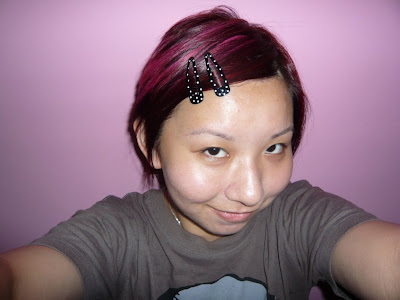 dark hair with pink highlights. dark brown hair pink
