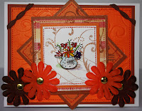 Inkadinkado, orange, flowers, blossom, embossing, heat emboss, powder, distress,card, handmade, envelope, bazzill, ribbon, ric rac, ebay, prima, flowers, embellishments