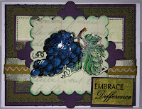 grapes, stamp, cardmaking, card, embrace, difference, hand stitch, sewing machine, ribbon, card, wine, embossed leaves, envelope, hand stamped, pretty