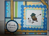 Changito, monkey, thanks, bunch, card, hand made, thank you card, blue, ribbon, glass beads, dew drops, argyll, scrapbooking, scrapbook, envelope, white, blue, yellow, dots, hand stich, stitched, sewing machine, Stampendous