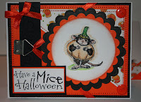 Stampendous, House mouse, Halloween, pumpkin, orange, mice, mouse, button, candy corn, black, emebellishments, ribbon, hand stich, sewing machine, card, handmade card, scrapbooking, cuttle bug, emboss, prismacolor,