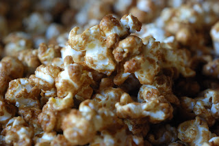 close up of caramel popped corn