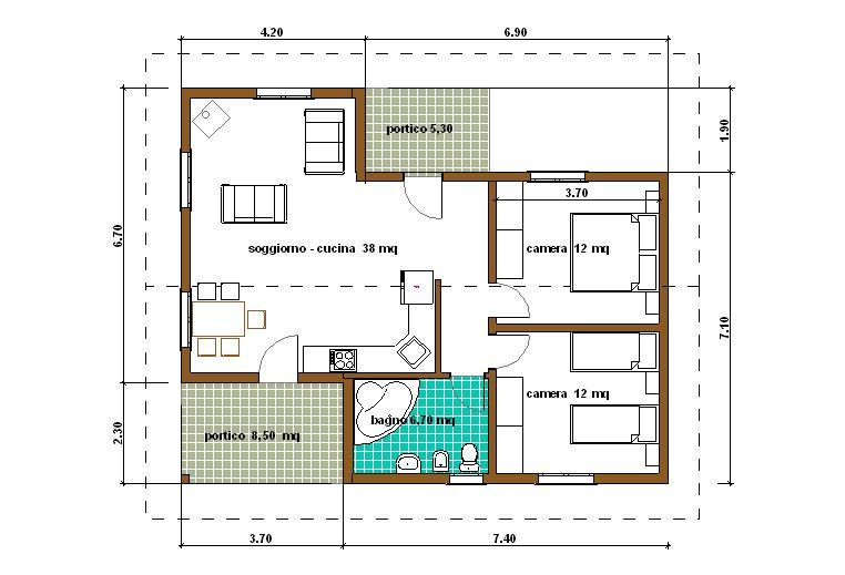 Case prefabbricate casa 78 mq portico 14 mq for Case in legno 100 mq