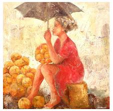 Femme au  parapluie                 (70x70)  -  700 €