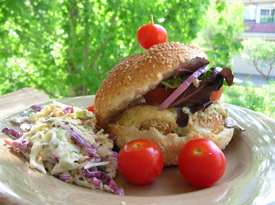 Sesame Seed Crusted Salmon Burgers with Mayonnaise & Asian Coleslaw ...