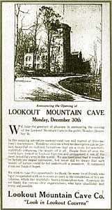 Opening day poster for Lookout Mountain Cave tour