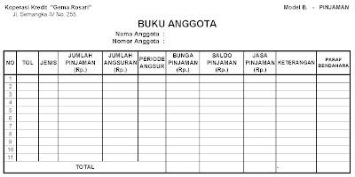 Contoh Format Buku Daftar Anggota Koperasi Berbagai Buku