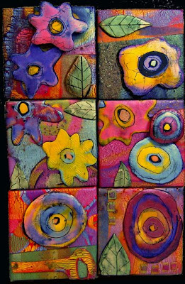 """Garden in Bloom"" Polymer Clay Tile Assemblage by gera scott chandler"