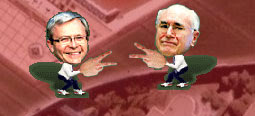 John Howard and Kevin Rudd playing paper rock scissors