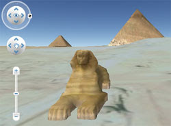 An image from Google Maps showing a 3D image of the Egyptian pyramids