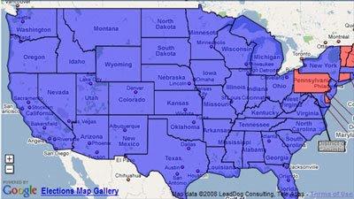 Maps Mania: 2008 Election Results Maps on google maps louisiana political, democrat vs republican states map, google poll,