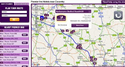 Premier Inn Uk Map Maps Mania: Finding Hotels Along a Route