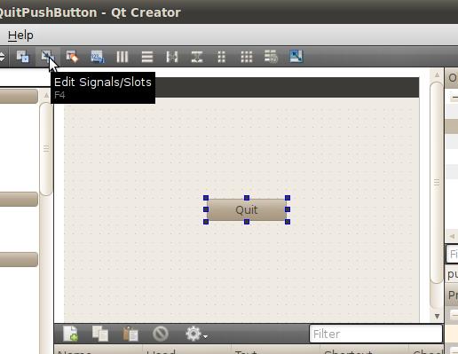 Qteveloper: A simple PushButton to quit, built as a Qt Gui Application