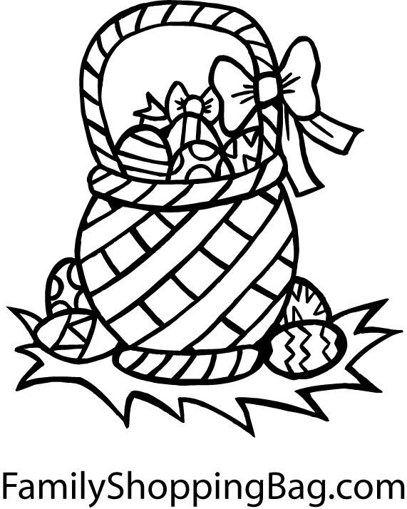 Easter coloring pages easter egg basket coloring pages for Easter basket printable coloring pages