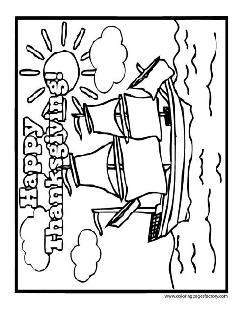 Mayflower Coloring Pages, Thanksgiving Mayflower Ship