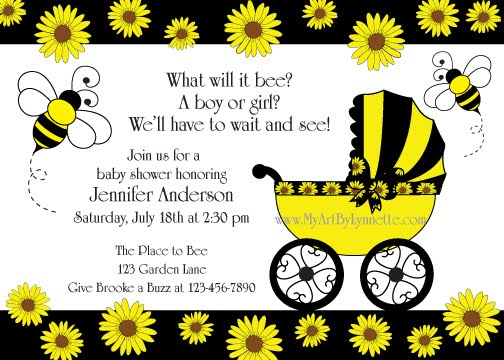 Bee And Sunflower Baby Shower Invitation Birthday Party