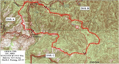 California Fire news - Chalk Fire perimeter topo map