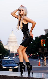 Mosh in realy high heals, black latex, washington DC