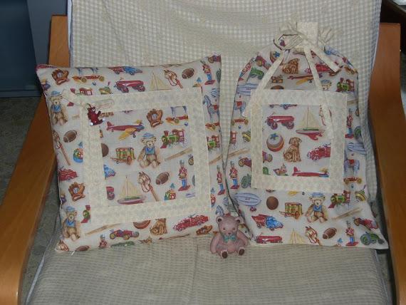 SET stile inglese di cuscino + sacchetto multiuso: IL PAESE DEI BALOCCHI