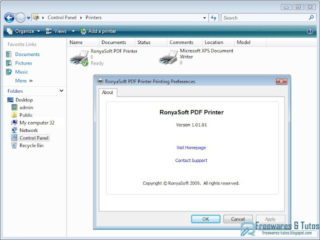 RonyaSoft PDF Printer : transformez vos documents en fichiers PDF