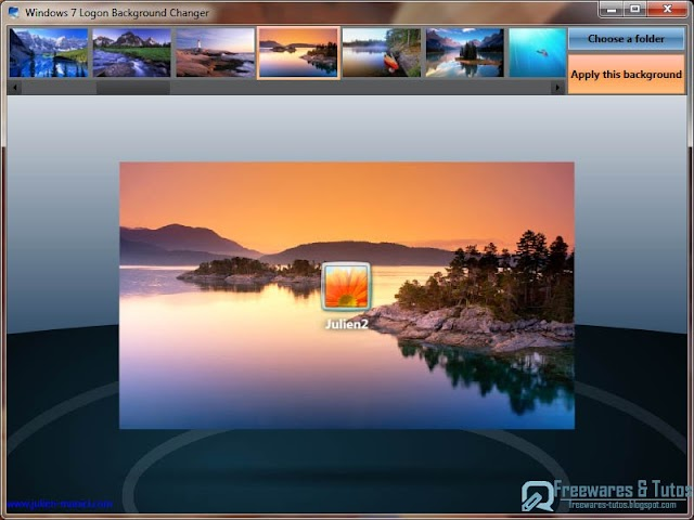 Windows 7 Logon Background Changer : un logiciel gratuit pour changer l'écran de bienvenue de Windows 7