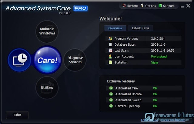 Offre promotionnelle : IObit Advanced SystemCare PRO  gratuit !