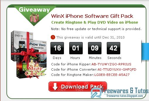 Offre promotionnelle : WinX iPhone Software Gift Pack (3 logiciels payants en version gratuite) !