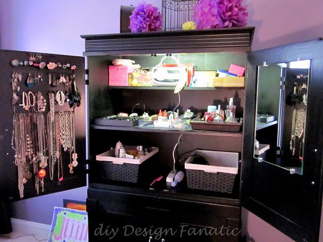 organized armoire, jewelry armoire, diydesignfanatic.com, bling-eez,cottage, organization, organize